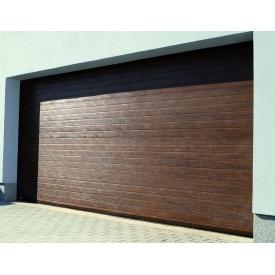 Гаражные секционные ворота KRUZIK Base 2750х2200 мм темный дуб