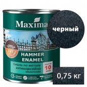 Молотковая краска антикоррозийная по металлу 3 в 1 Rust stop metal enamel MAXIMA черный 0,75 кг