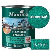 Декоративная краска MAXIMA по металлу 3 в 1 молотковая Rust-stop-metal-enamel зеленый 0,75 кг