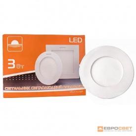 Светильник точечный врезной ЕВРОСВЕТ 3 Вт LED-R-90-3 6400 К круг