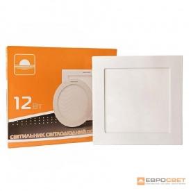 Світильник точковий врізний ЕВРОСВЕТ 12 Вт LED-S-170-12 6400 К квадрат