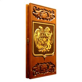 Деревянные резные нарды Герб Армении 60х60х3,5 см золото