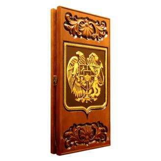 Дерев`яні різьблені нарди Герб Вірменії 60х60х3,5 см золото