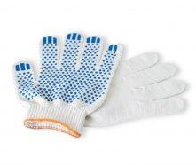 Перчатки трикот СИЛА ХБ с ПВХ точкой белые