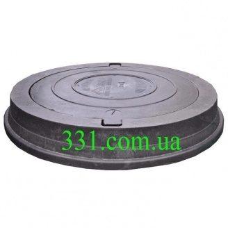 Люк тяжелый канализационный полимерпесчаный (С250) 25 т с замком черный (14.31.1) (IMPA534)