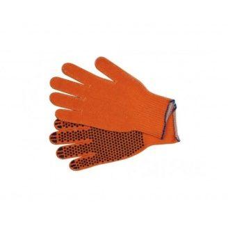 Перчатки трикотаж ХБ Домик оранжевые черная точка