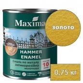 Молотковая краска антикоррозийная по металлу 3в1 Rust stop metal enamel MAXIMA золото 0,75 кг