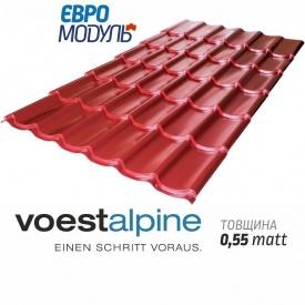 Металлочерепица Евромодуль Хестия matt Voestalpine Австрия 0,55 мм