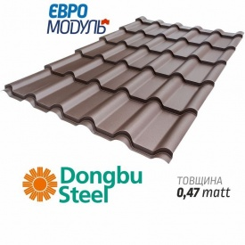 Металлочерепица Евромодуль Веста-25 matt Dongbu Steel Корея 0,47 мм