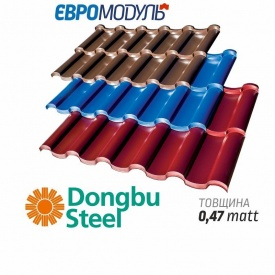 Металлочерепица Евромодуль Олимп модульная matt Dongbu Steel Корея 0,47 мм