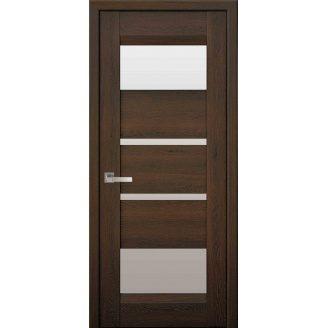 Дверное полотно Ибица дуб шоколадный со стеклом сатин