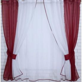 Кухонный компелек тюль и шторки VR-Textil 170 см бордовый с белым (2015)