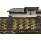 Блок декоративний рваний камінь з фаскою для забору 390х90х190 мм жовтий