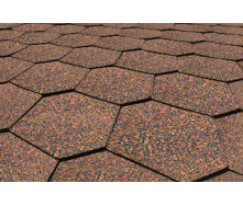 Бітумна черепиця Matizol Hexagon SBS коричневий меланж