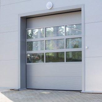 Панорамные ворота ALUTECH AluTherm 3500х3500 мм RAL 9006 серебристый металлик