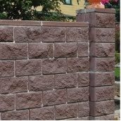 Блок декоративный для столба Золотой Мандарин М-200 двухсторонний скол 400х400х150 мм коричневый