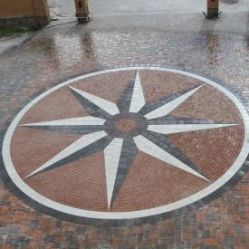 Тротуарна плитка Золотий Мандарин Квадрат великий 200х200х60 мм на білому цементі білий