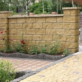 Блок декоративный для столба Золотой Мандарин М-200 двухсторонний скол 400х400х150 мм горчичный