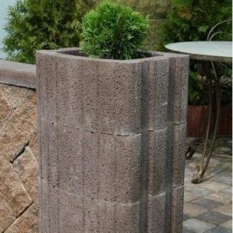 Цветочница квадратная Золотой Мандарин 500х400х250 мм на сером цементе коричневый