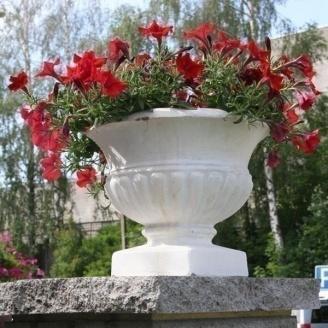 Бетонна ваза Золотий Мандарин Стандарт 430 мм біла