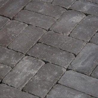 Тротуарная плитка Золотой Мандарин Кирпич Антик 200х100х60 мм на сером цементе коричневый