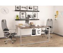 Двойной офисный стол Q-140 Loft-design 1350х750х1400 мм дсп орех-модена