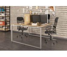 Двойной офисный стол Q-140 Loft-design 1350х750х1400 мм дсп дуб-борас