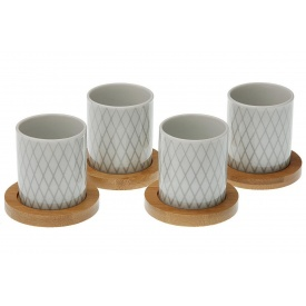 Набор из 4-х чашек с бамбуковой подставкой VERSA фарфор (20090264)