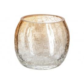 Ваза для цветов ATMOSPHERA Сrackle круглая янтарная 8x7 см (114840-amber)