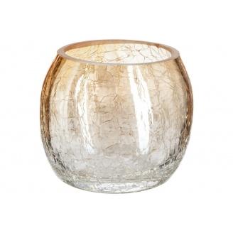 Ваза для квітів ATMOSPHERA Сrackle кругла янтарна 8x7 см (114840-amber)