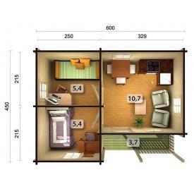 Дом деревянный из профилированного бруса 5.6х6.6