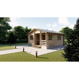Дом деревянный из профилированного бруса 6х6 м с террасой