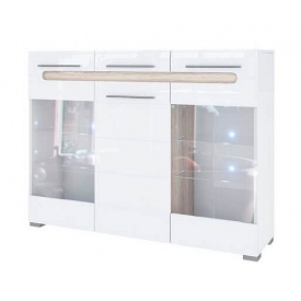 комод витрина 3Д Бьянко белый глянец + дуб сонома Мир Мебели