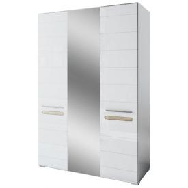 шафа 3Д з дзеркалом Б`янко білий глянець + дуб сонома Світ Меблів