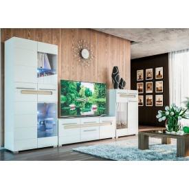 гостиная №1 Бьянко белый глянец + дуб сонома Мир Мебели