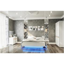 спальня 4Д Бьянко белый глянец + дуб сонома Мир Мебели