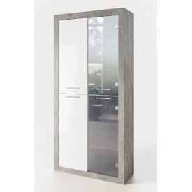 витрина Омега 1930х920х366мм индастриал + белый Мир мебели