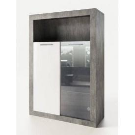 тумба витрина Омега 1330х920х366мм индастриал + белый Мир мебели