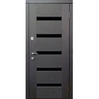 Двери входные Redfort МОНАКО венге + стеклянный черный молдинг Элит 870х2060 мм