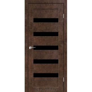 Дверное полотно Korfad PORTO PR-03 арт бетон стекло черное 700 х2000 мм Sincrolam