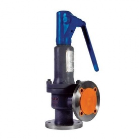 Клапан предохранительный пружинный угловой полноподъемный фланцевый стальной Ду 80 100 PN16