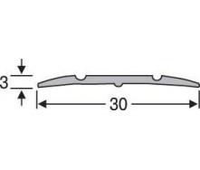 Порожки для пола алюминиевые анодированные 30мм бронза 2,7м