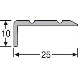 Порожек разноуровневый алюминиевый анодированный 25x10 золото 0,9 м