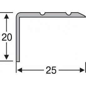 Порожек угловой алюминиевый анодированный 25x20 серебро 0,9 м