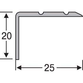 Поріжок кутовий алюмінієвий анодований 25х20 срібло 2,7 м