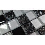 Стеклянная мозаика Керамик Полесье Gretta Black Silver Mix 300х300х6 мм