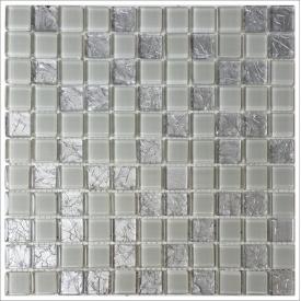 Скляна мозаїка Керамік Полісся Gretta Light Grey колотое скло 300х300 мм