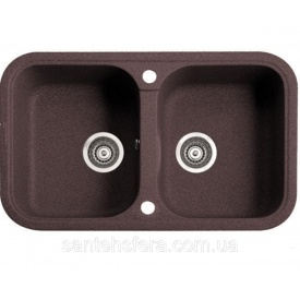 Кухонная мойка с двумя чашами ADAMANT TWINS 770x470x190 мм коричневая