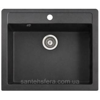 Мийка гранітна з переливом ADAMANT PRIZMA 590x500x200 мм чорна