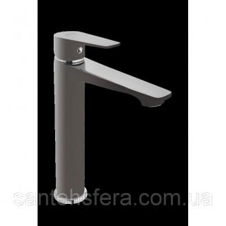 Высокий смеситель для умывальника Invena DOKOS графит / хром